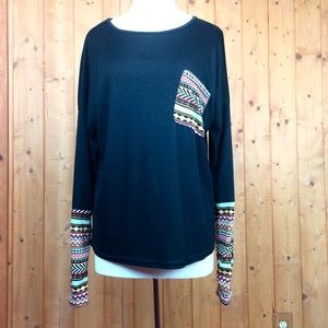 Soft Black Aztec Print Slouchy Long Sleeve Top XL